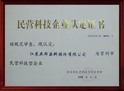 民营科技企业认定证书